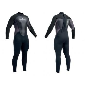 Neptune Mens 3/2mm Full Wetsuit - Black/Black/Charcoal