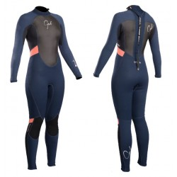 Gul Ladies Response 3/2mm Full Wetsuit - Navy/Coral