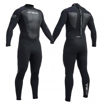 Gul Mens Response 3/2 mm Flatlocked Wetsuit  - Black with White Logo